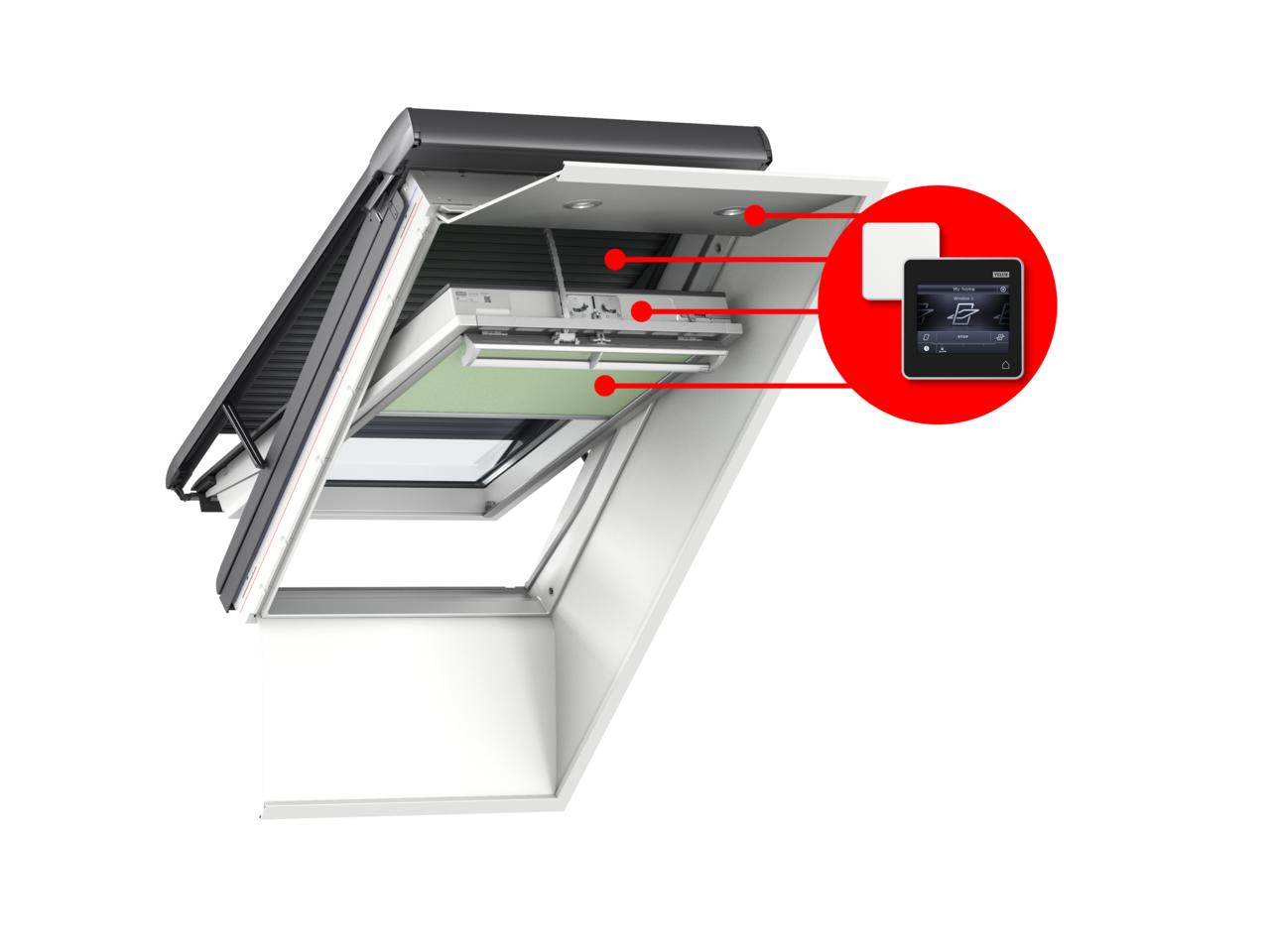 Come trasformare una finestra per tetti manuale in una for Lucernario elettrico velux