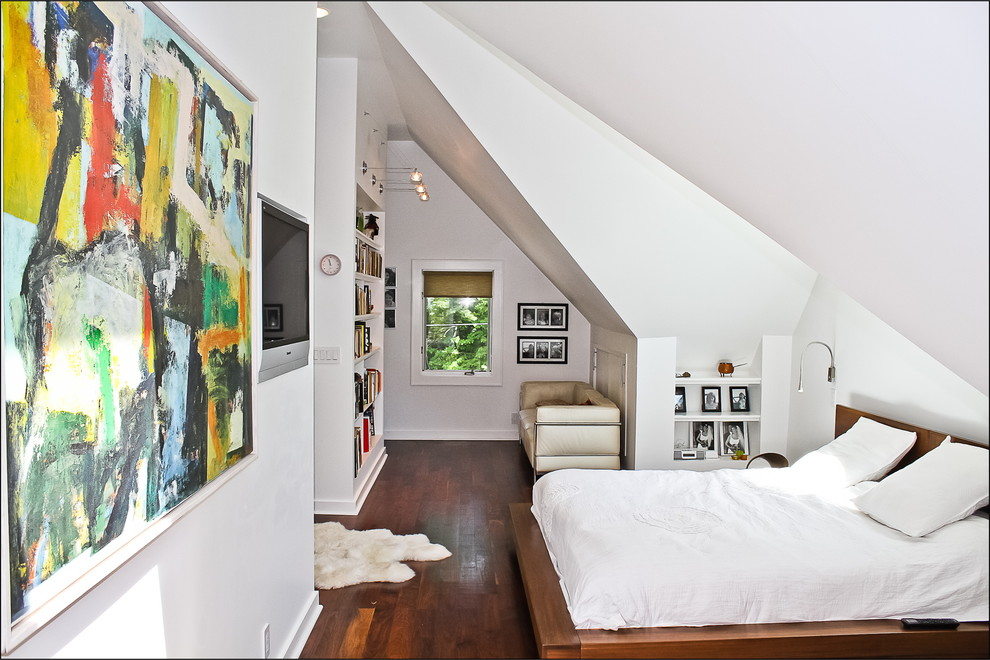 Contemporary-attic-Bedroom-with-bookshelves