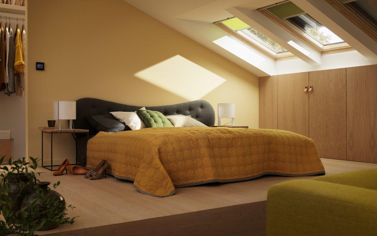 Come utilizzare velux active per gestire tende e for Tende per finestre sottotetto