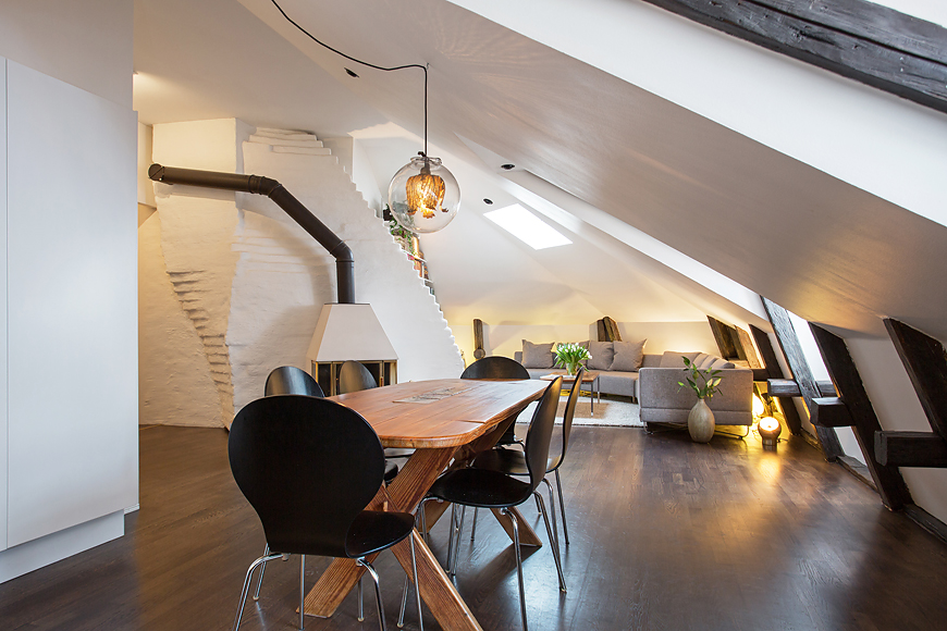 awesome-attic-open-plan-livin-room-and-diner-also-wood-dining-table ...