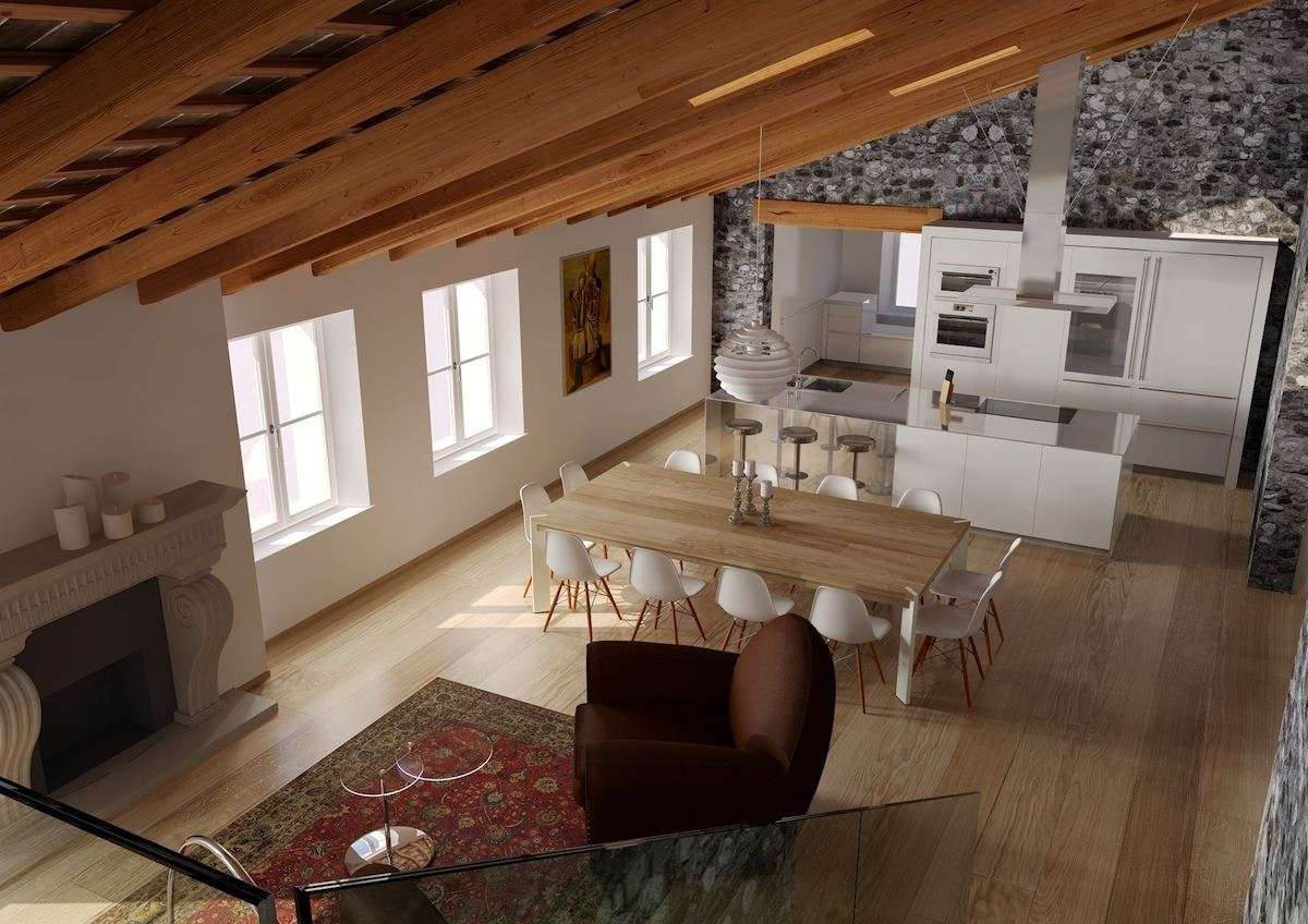 Un attico in un palazzo storico for Illuminazione sottotetto legno