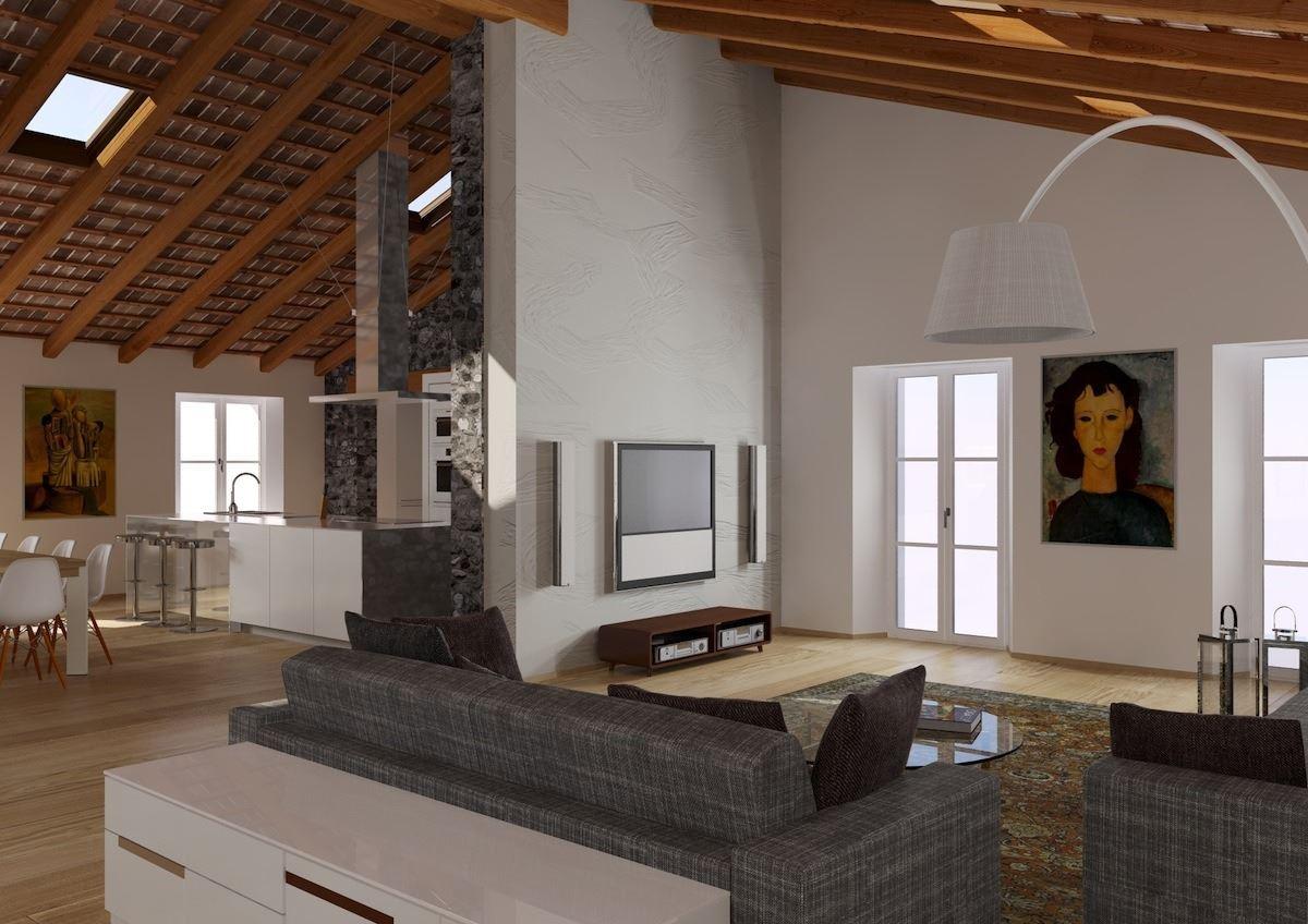 Un attico in un palazzo storico for Arredare casa con travi a vista