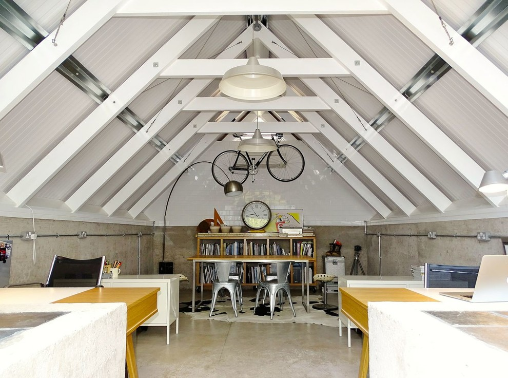 Office-Workstation-Furniture-Home-Office-Industrial-with-attic-office-concrete-concrete