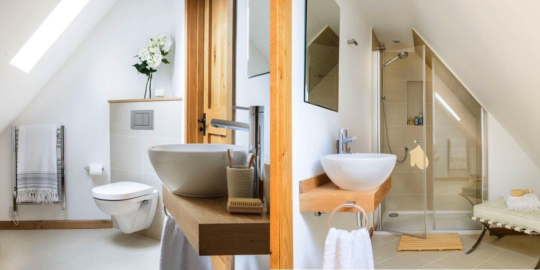 Come organizzare gli spazi nel bagno in mansarda - Bagno con doccia davanti finestra ...