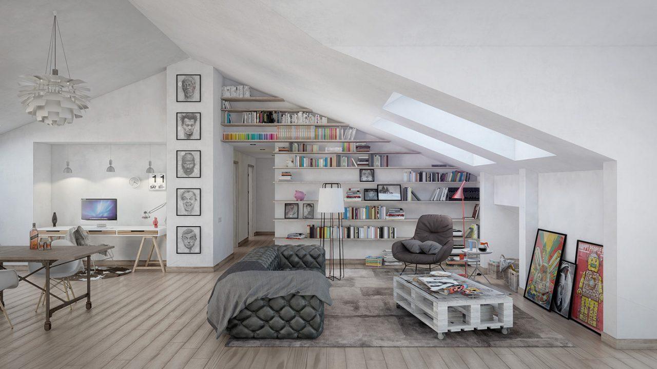 3 modi per arredare un soggiorno open space for Arredare mansarda