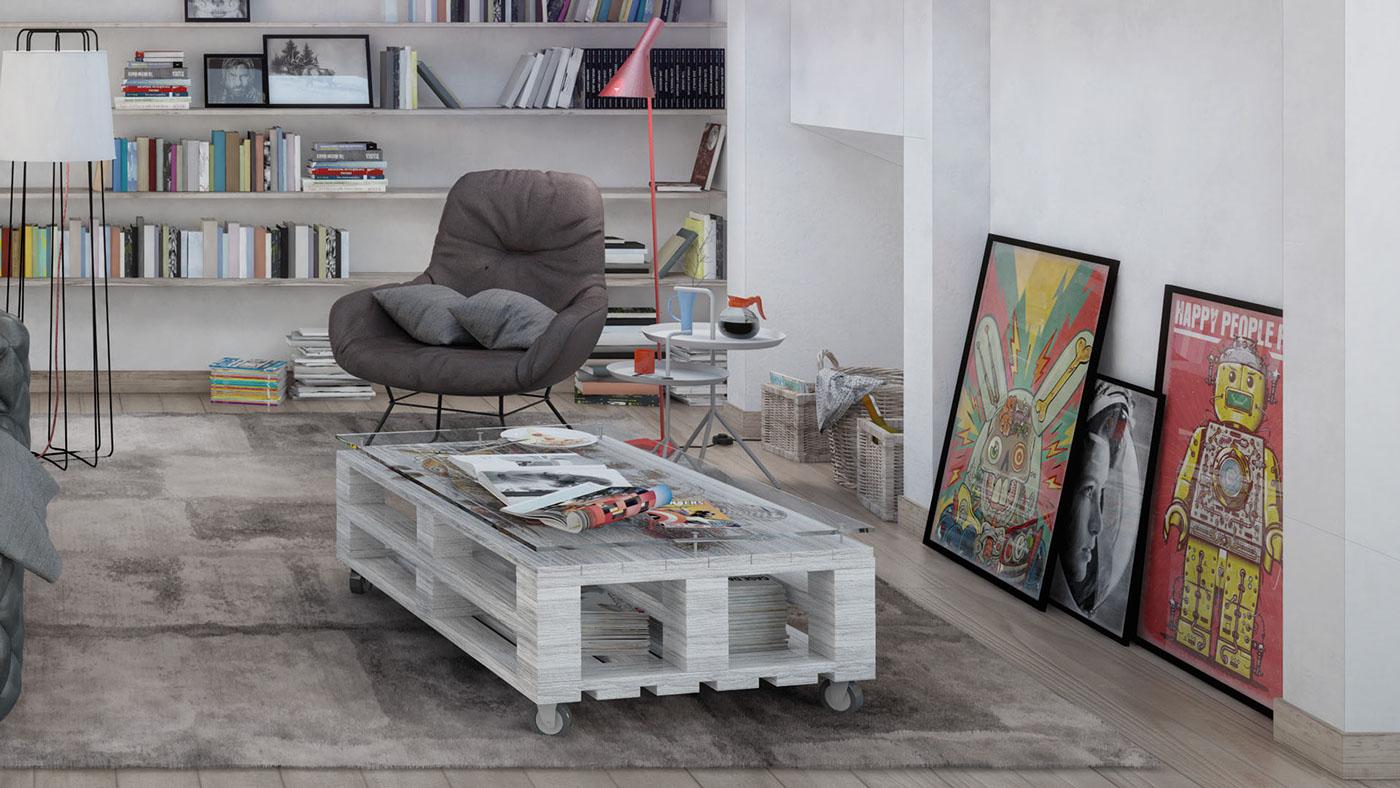 Soffitto Colorato Pareti Bianche: Stanza con la porta del balcone fotografia stock libera da ...
