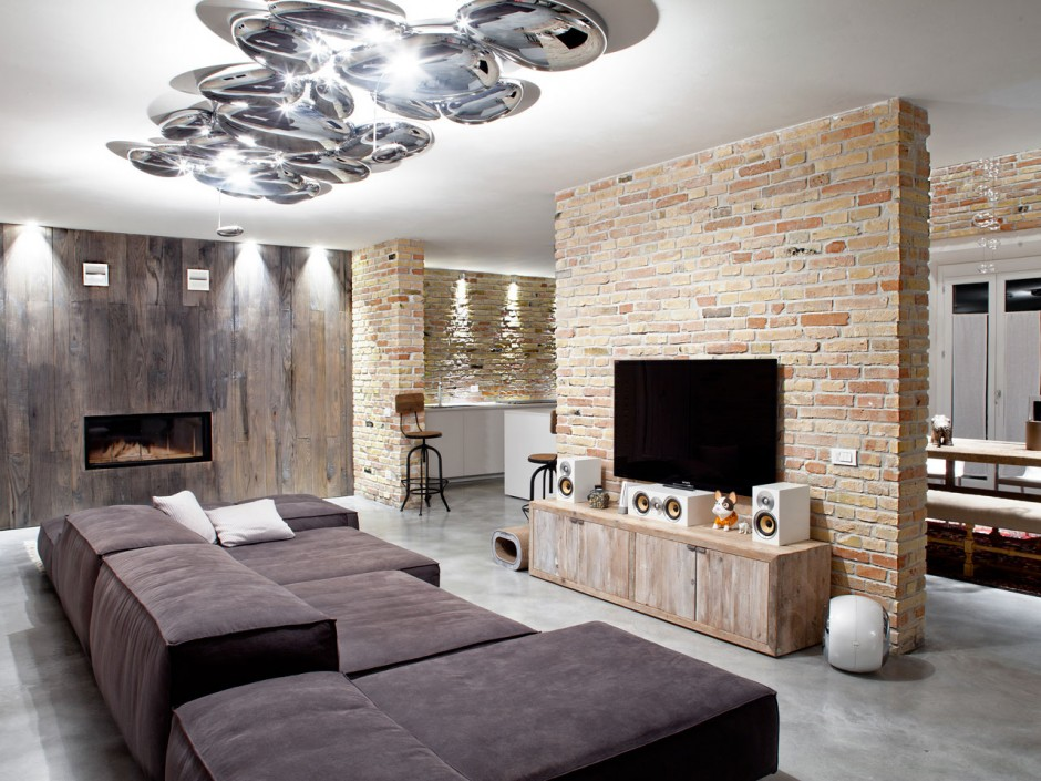 Soggiorno Mattoni A Vista : Un loft di circa 200 metri quadrati ...