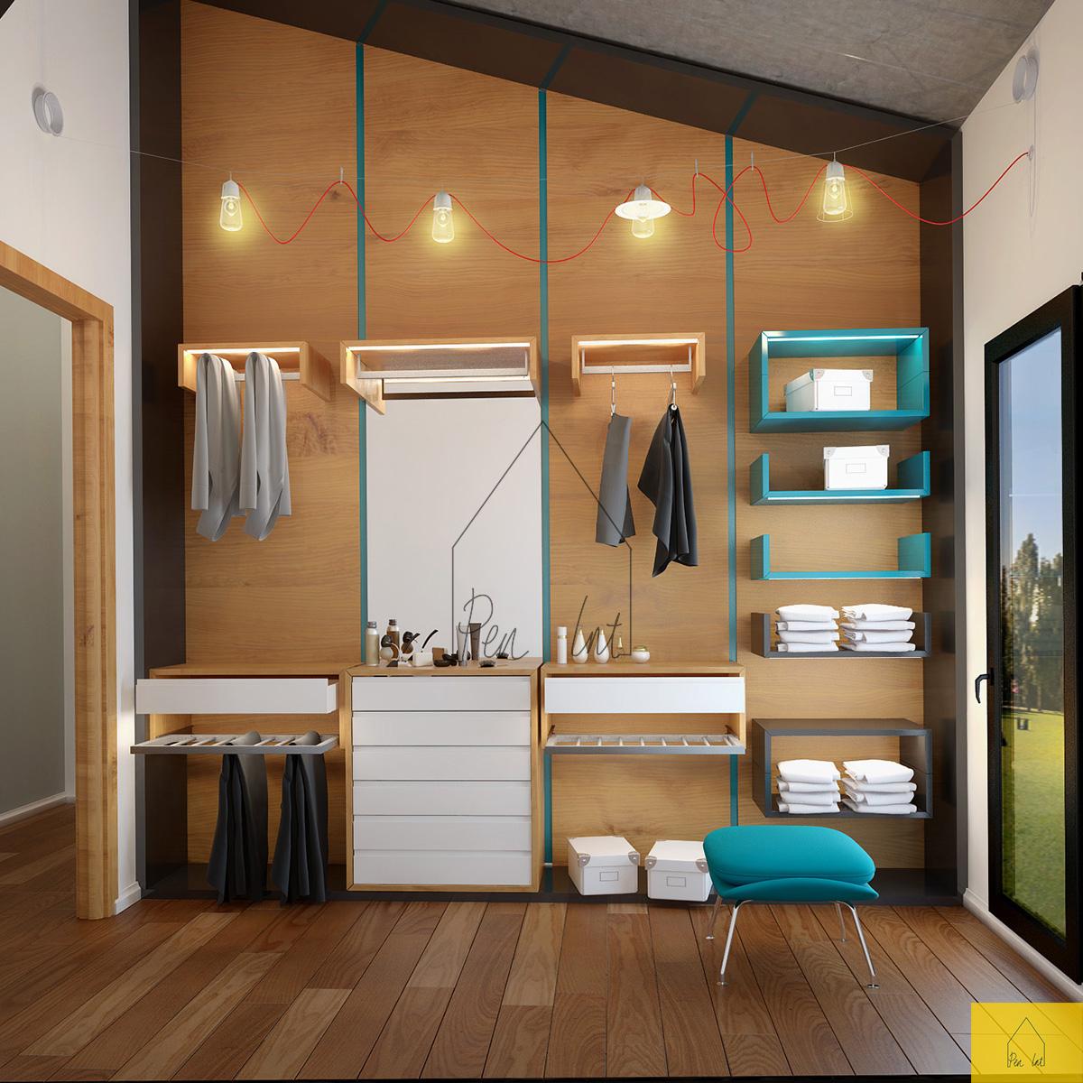 8 idee per un piccolo spogliatoio in mansarda for Come arredare una parete attrezzata