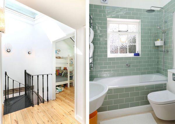 Il bagno e le scale illuminate da finestre per tetti