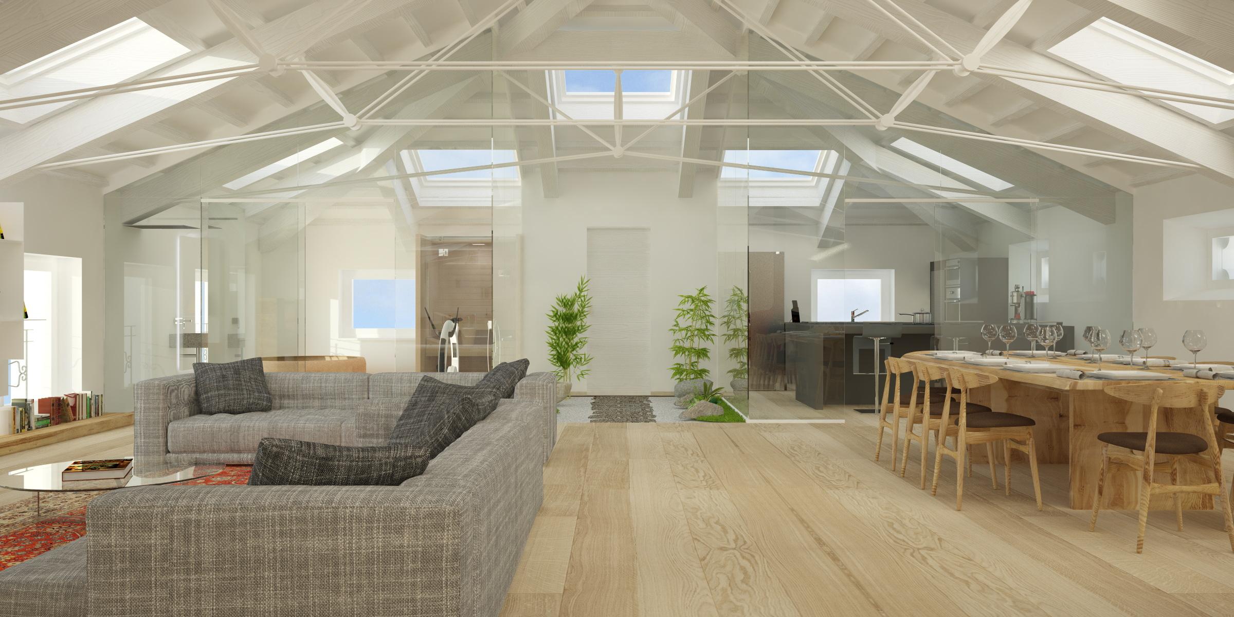 Living - Legno sbiancato tetto ...