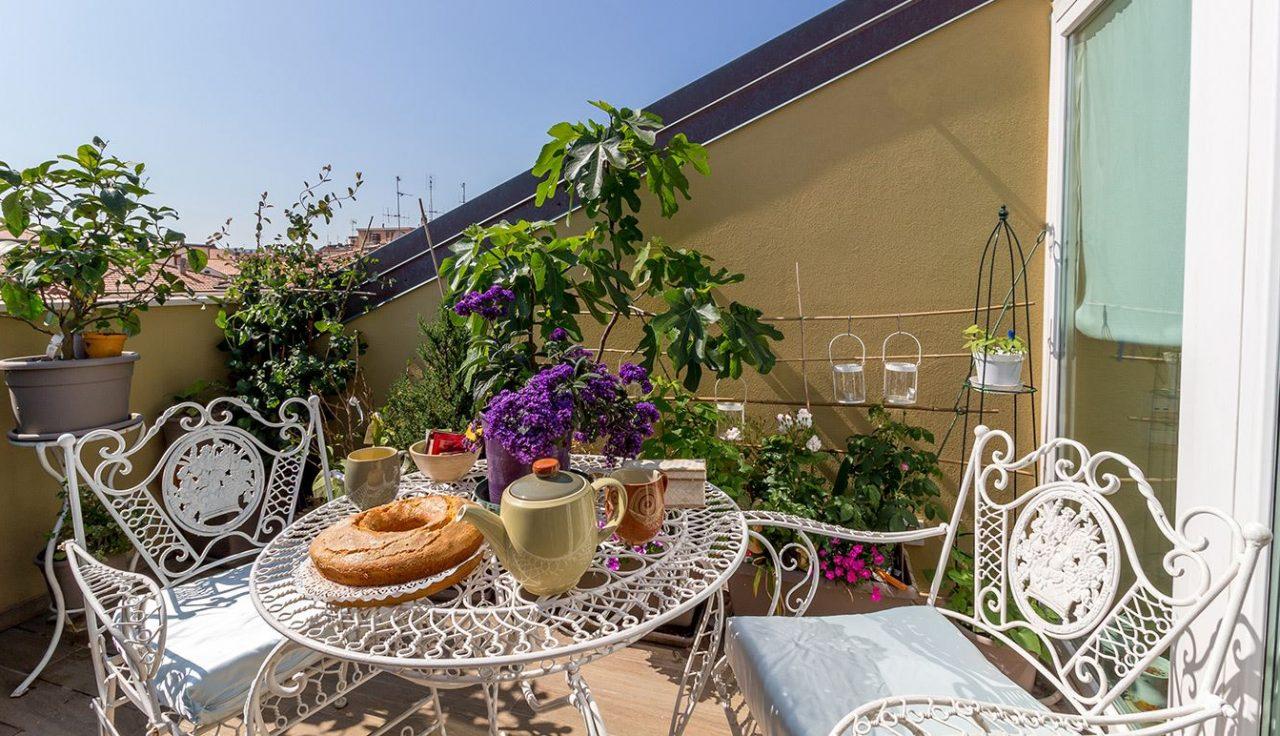 terrazzo con vasi e piante verdi