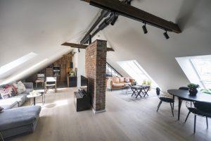 living open space in mansarda