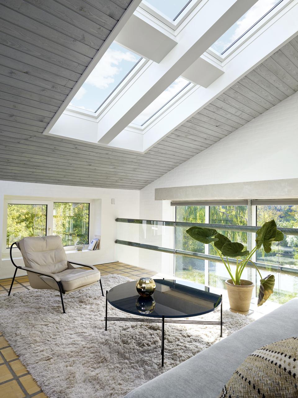 Soppalco illuminato da finestre per teti