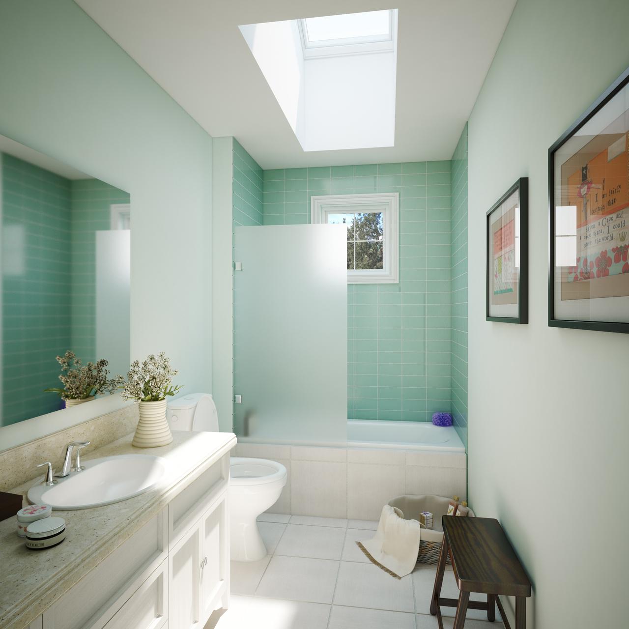 bagno illuminato da finestra