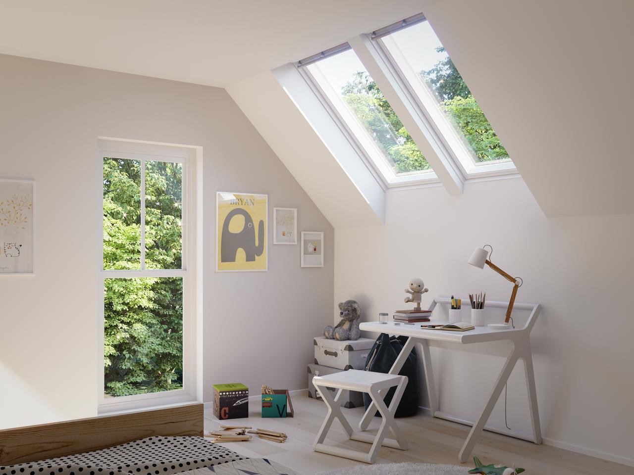 cameretta con finestre per tetti
