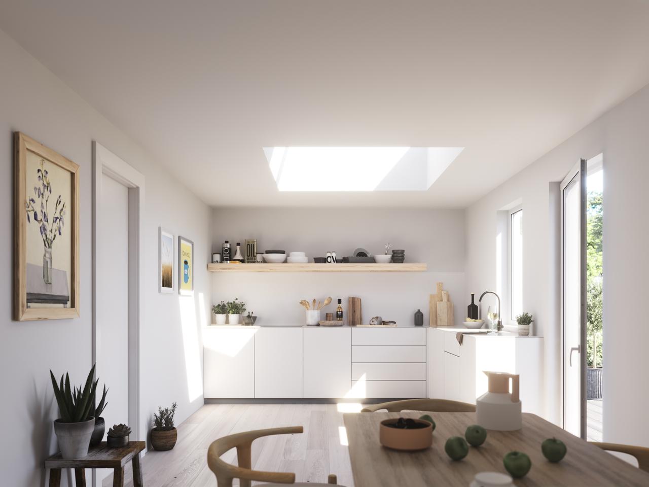 cucina dopo l'inserimento di una finestra per tetti