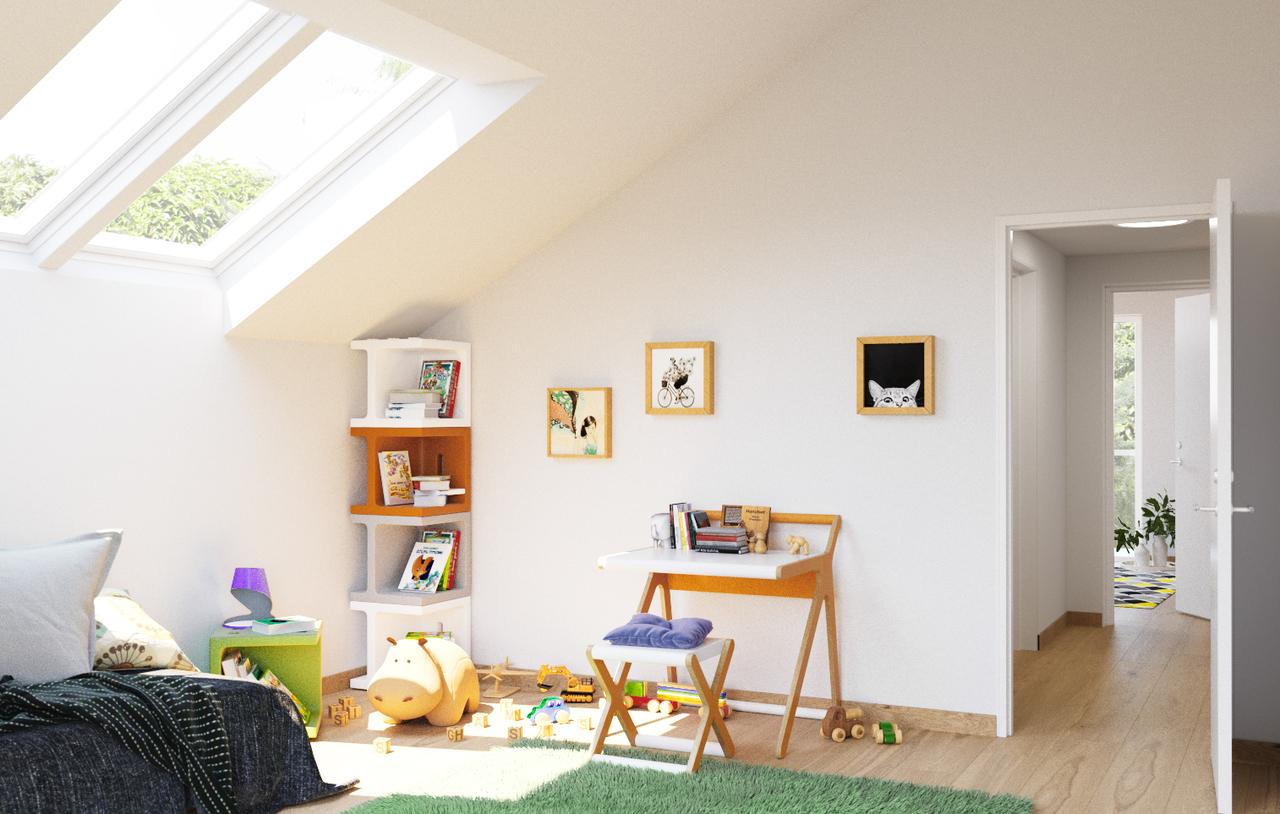 cameretta con finestra per tetti