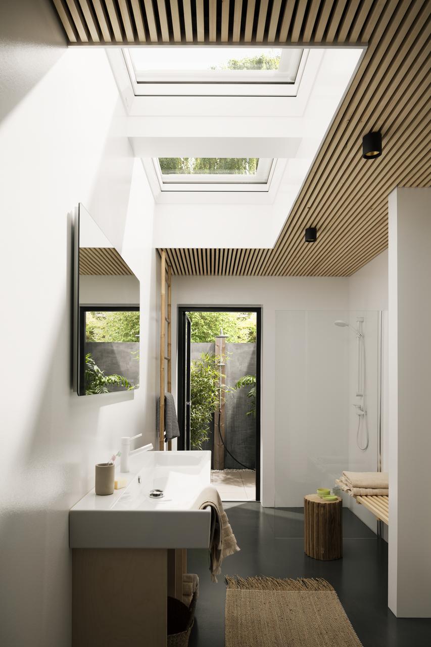 bagno con tetto piano