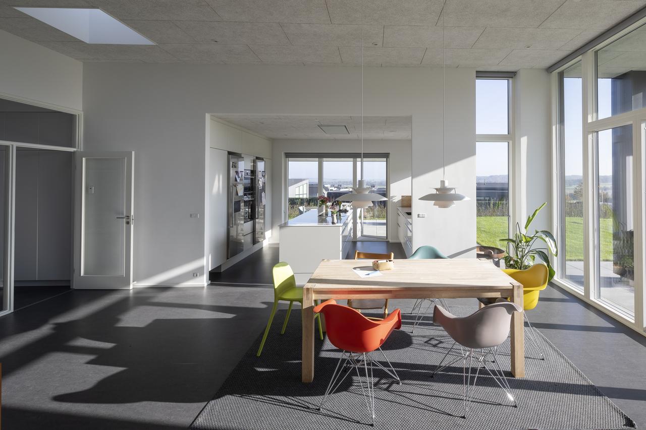 Una casa singola con tetto piano piena di luce - Casa piena di zanzare ...