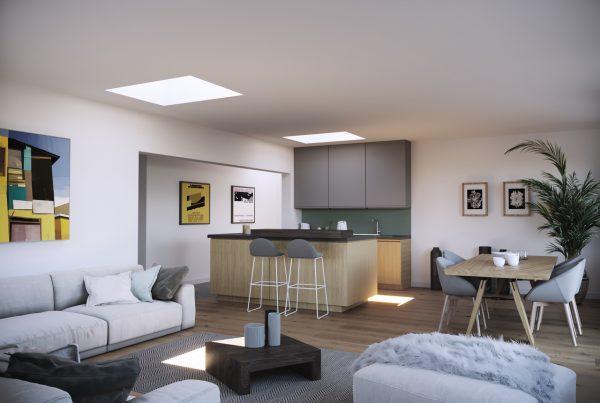 Due finestre per tetti piani illuminano tutta la stanza