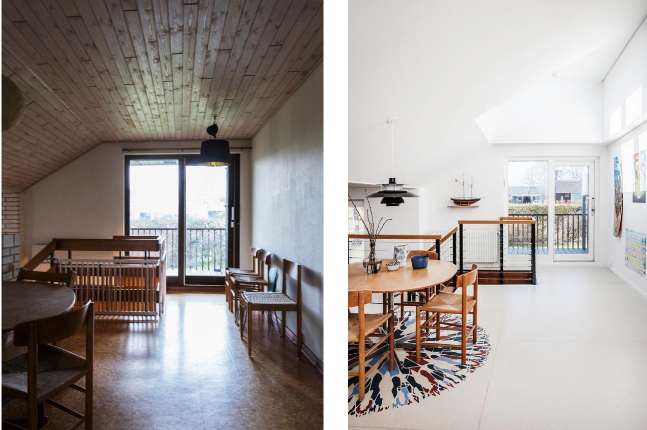sala da pranzo prima e dopo