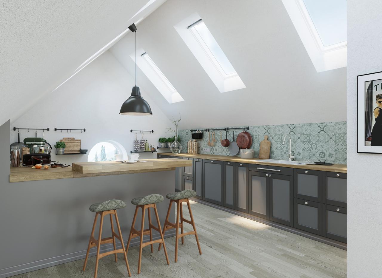 cucina con finestre